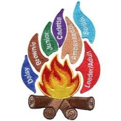 USA, United, States, America, Flames, Scouting, Guiding, Set, Daisy, Brownie, Junior, Cadette, Senior, Ambassador, Leader, Adult, Patch, Embroidered Patch, Merit Badge, Badge, Emblem, Iron On, Iron-On, Crest, Lapel Pin, Insignia, Girl Scouts, Boy Scouts, Girl Guides