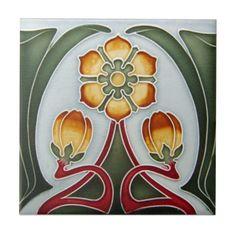 AN070 Art Nouveau Reproduction Antique Tile