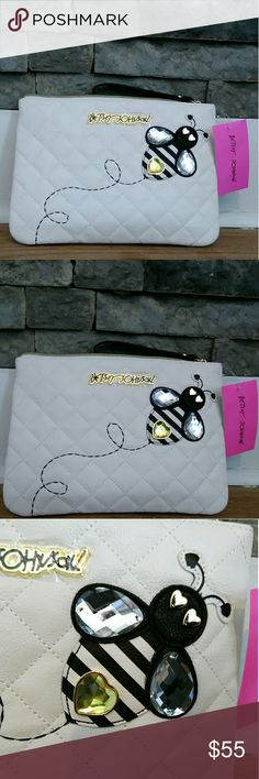 "NWT Betsey Johnson cream bumblebee wristlet NWT Betsey Johnson cream colored bumblebee wristlet. Size 11"" x 8"". This wristlet is my absolute favorite item in my closet! There are so many unique and gorgeous details. No flaws! Smoke free and pet free home. Not interested in trading Betsey Johnson Bags Clutches & Wristlets"