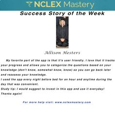 Allison Hesters is our #NCLEX Mastery Success Story of the Week. Congratulations on passing your NCLEX, and becoming a #nurse. We're glad we could help play a part in you achieving your dreams! If you want to know how Becca passed or if you need help on your NCLEX studies visit: www.nclexmastery.com.