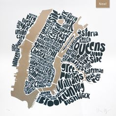 The Central New York City Type Map is the newest edition to our New York Art Prints collection. This New York City Art Print is a linocut typographic NYC city map showing neighbourhoods within Manhattan, Brooklyn and Queens. New York City Map, New York Art, Art Prints Online, Artwork Online, Unusual Presents, Map Design, City Art, Map Art, Online Art Gallery