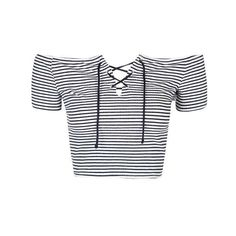 TopShop Petite Stripe Tie Bardot Crop ($26) ❤ liked on Polyvore featuring tops, off the shoulder tops, petite tops, topshop, stripe top and stripe crop top