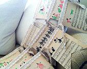 Vintage Sheet Music Nursery Bunting, Children's Songs (Baby Girl)