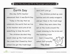 Second Grade Holidays & Seasons Worksheets: Punctuate the Story: Earth Day