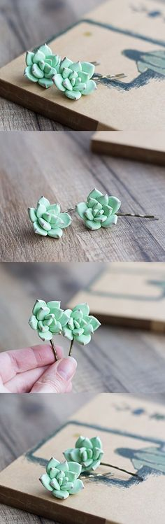 Succulent hair piece - hair accessories - floral hair pins - succulent wedding - flower bobby pins - floral hairpiece - mint hair clips