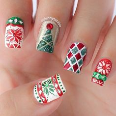 Newest Christmas Nail Ideas for Christmas Sweater Nail Art Designs Ideas; easy and cute Christmas nails; Christmas Manicure, Holiday Nail Art, Xmas Nails, Christmas Nail Art Designs, Winter Nail Art, Christmas Patterns, Christmas Design, Winter Nails, Christmas Tree Nails