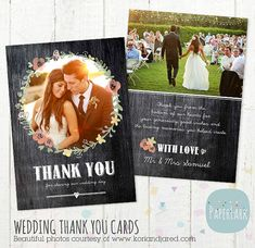 Wedding Thank You Card Photoshop template by PaperLarkDesigns, $8.00
