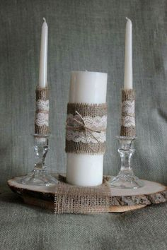 Items similar to Rustic Unity Candle, Burlap and Lace Unity Candle, Rustic Wedding Decor, Unity Candle Set, Jute wrapped Unity Candle on Etsy Wedding Unity Candles, Unity Ceremony, Rustic Wedding Centerpieces, Taper Candles, Wedding Reception Decorations, Candle Centerpieces, Rustic Weddings, Wedding Ideas, Table Decorations