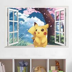 Cheap window wall sticker, Buy Quality sticker for kids room directly from China wall stickers for kids Suppliers: Lovely Pikachu Window Wall Stickers for Kids Room Decoration Pocket Monster Pokemon Mural Art Diy Cartoon Scenery Home Decals Pikachu Pikachu, 3d Pokemon, Pokemon Room, Pokemon Wall Stickers, Kids Stickers, Kids Room Wall Art, Kids Wall Decals, Vinyl Decals, Vinyl Art