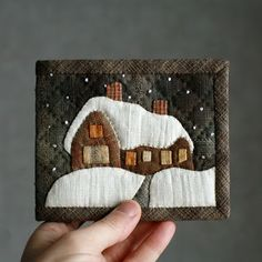 """crane: My works 2013 Japanese purse.   Japanese purse-patchwork """"Winter House"""", for notes.  crane design. House, snow drifts, snow.  fully quilted by hand, manual assembly. Calm colors. Fastens with a magnetic button.   Japanese fabrics of different textures   When folded, 10.5 * 13 cm in expanded 10.5 * 26 cm"""