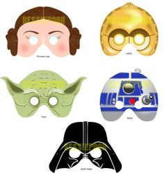 Printable Masks. Yoda for the day.... Darth for the night... Leah for the closet.