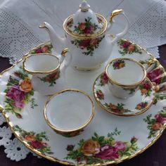 Royal Albert Old Country Roses miniature tea set.