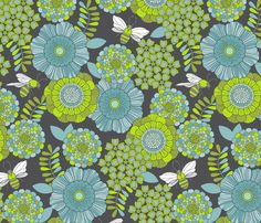 buzzy bee garden custom fabric by cjldesigns for sale on Spoonflower Bee Fabric, Buzzy Bee, Asian Design, Canvas Designs, Repeating Patterns, Cool Patterns, Fabric Decor, Custom Fabric, Spoonflower