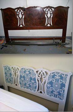 Furniture Refinish: Paint and fabric Headboard...=)