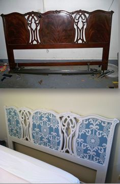 Furniture Refinish: Paint and fabric Headboard...=)