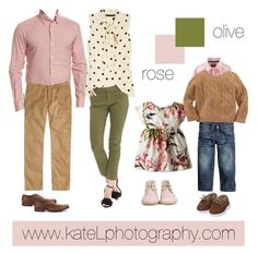 Olive + Rose family outfit inspiration: what to wear for a family photo session in the spring or summer. Created by Kate Lemmon, www.kateLphotogra...