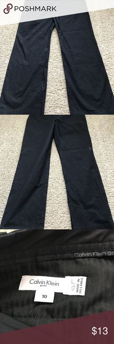 Black Calvin Klein's golf sport pants Gently Worn/ Black Calvin Klein's golf sport pants 97% Cotton  3 % Spandex very comfortable and in good shape Size 10 Calvin Klein Pants