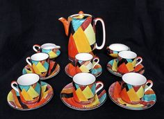SUSIE COOPER ART DECO COMPLETE COFFEE SET #8127, OVERLAPPING TRIANGLES, ABSTRACT #CoffeePotCoffeeset