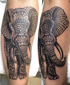 Elephant Tattoo by Candela Pájaro