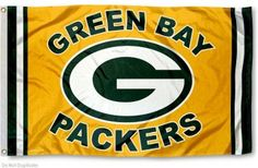 Our Green Bay Packers Logo Flag is double sided, made of poly, 3'x5', has two metal grommets, indoor or outdoor, and four-stitched fly...
