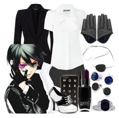 """""""Ciel Phantomhive // Black Butler"""" by stormtrooper2003 ❤ liked on Polyvore featuring Alexander McQueen, Ciel, Moschino, Marc Jacobs, J.Crew, Bling Jewelry, Funtasma, Tateossian, Smashbox and Nails Inc."""
