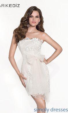 Short Strapless Lace Dress by Tarik Ediz at SimplyDresses.com