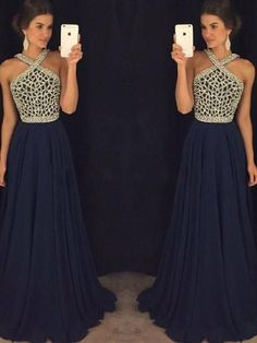 A-Line/Princess Sleeveless Halter Chiffon Beading Floor-Length Dresses - Prom Dresses 2018 - Prom Dresses - Hebeos Online, PO16033PO550, Spring, Summer, Fall, Winter, Chiffon, Halter, A-Line/Princess, Sleeveless, Beading, Empire, Other, Floor-Length, hebeos.com