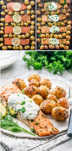 Sheet pan dinners were never easier than this salmon with dill sauce and roasted baby potatoes. Dinner in 30 minutes that's healthy, minimum prep time required and easy cleanup. Oven Roasted Baby Potatoes, Oven Roasted Salmon, Side Dishes For Salmon, Salmon Sides, Dill Sauce For Salmon, Baby Potato Recipes, Salmon Potato, Salmon With Potatoes, Frozen Potatoes