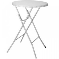 Ki Round White Folding Bistro Table Garden Patio Foldable Bar Breakfast Bbq Dining Contemporary Kitchen 8711295724909 724909 Metal Legs May Slightly Vary From The Image Shown 115cm Approx