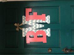 Chevron monogram door sign.