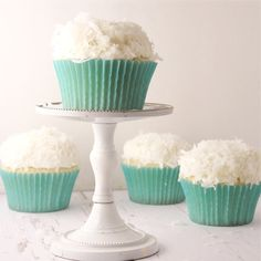 Coconut Cupcakes! Pretty contrast of colors...