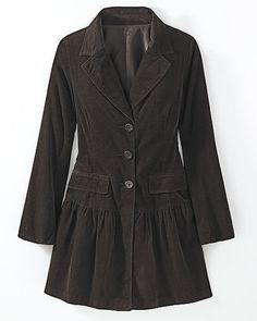 Drop-Waist Corduroy Jacket