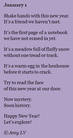 The Poem Farm: Poem #277 Wishes Everyone a Happy New Year! This poem is a brief list of metaphors...comparing a new year to many different things.  'Good for celebrating a new year with a class of students and talking about metaphor too!