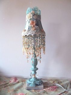 Victorian Sea Glass with Peach Accent Lamp