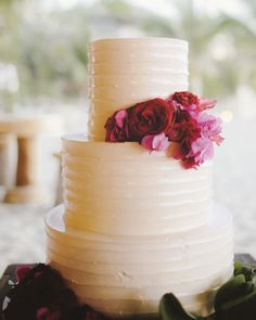 """""""Confession: I never saw the cake,"""" admits the bride. Instead of stopping to cut the vanilla bean confection at the Punta Mita, Mexico, reception, she kept dancing."""