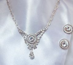 Vintage Leo Glass Necklace and Earring Set by Ladysfancys on Etsy, $25.00