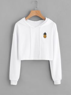 Womens Hoodie Appliques Pinapple Sweatshirt Long Sleeve Pullover Tops Sudaderas De Mujer - Sweat Shirt - Ideas of Sweat Shirt - Womens Hoodie Appliques Pinapple Sweatshirt Long Sleeve Pullover Tops eefury Crop Top Hoodie, White Hoodie, Cropped Hoodie, Crop Top Sweater, Cropped Top, Teenage Outfits, Teen Fashion Outfits, Outfits For Teens, Cool Outfits