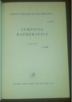 SYMPOSIA MATHEMATICA vol VIII 1972 Academic istituto nazionale alta matematica *