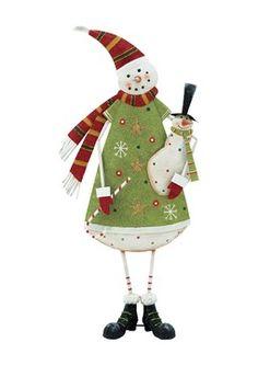 Medium Metal Snowman Figurine
