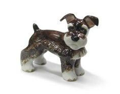SCHNAUZER Dog Gray Uncrop PUPPY Stands Miniature New Figurine PORCELAIN Northern Rose R332,$10.99