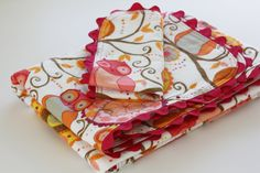Sew Much Ado: Ric Rac Receiving Blanket and Burp Cloths
