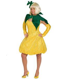 Zitrone Damenkostüm Obst gelb-grün, aus unserer Kategorie Ausgefallene Kostüme. Sauer macht lustig! Als Zitrone verkleidet gilt dieses Sprichwort auf jeden Fall, denn als saure Frucht steht man auf der Karnevalsparty garantiert im Mittelpunkt des Interesses. Ein witziges Kostüm für Fasching und Mottopartys. #Karnevalskostüm #Damenkostüm