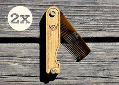Personalized Handmade Folding Wood Beard Comb by miniFab on Etsy Beard Grooming, Men's Grooming, Brainstorm, Travel Chic, Epic Beard, Beard Care, Beard Growth, Beard No Mustache, Beard Styles