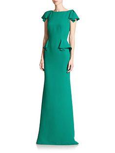 Carolina Herrera - Stretch-Silk Georgette Peplum Gown