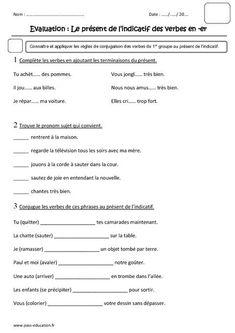 Présent des verbes en -er - Ce1 - Evaluation - Pass Education
