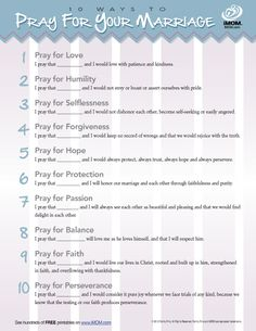 It's no secret that marriages have good and bad days. Everyone can benefit using a prayer for marriage. Use iMOM's 10 Ways to Pray for Your Marriage. Marriage Prayer, Godly Marriage, Marriage And Family, Marriage Relationship, Happy Marriage, Marriage Advice, Relationships, Couples Prayer, Fierce Marriage