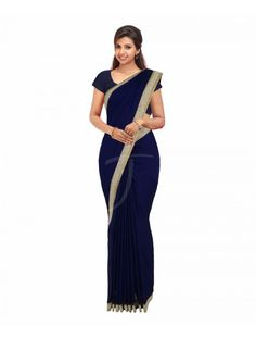 Chiffon Navy Blue Colour Fancy Saree With Attached Fancy Borders