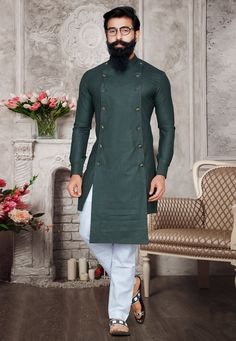 Buy Green Readymade Asymmetric Wedding Kurta Pajama for Mens Online USA Mens Wedding Wear Indian, Sherwani For Men Wedding, Mens Indian Wear, Mens Ethnic Wear, Wedding Dresses Men Indian, Wedding Dress Men, Wedding Outfits, Gents Kurta Design, Boys Kurta Design