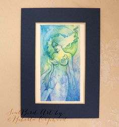 Mermaid Dreaming Original Watercolour Painting by Roberta Orpwood Goddess Art, Watercolour Painting, Mermaid, The Originals, Unique Jewelry, Frame, Handmade Gifts, Etsy, Vintage