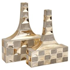 Reminiscent of Old Hollywood style, these gold-hued ceramic vases showcase tapered necks and a checked motif.    Product: Smal...